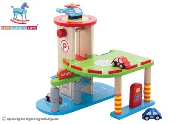 Houten parkeergarage speelgoed